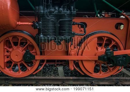 The old locomotive on metals Germany .