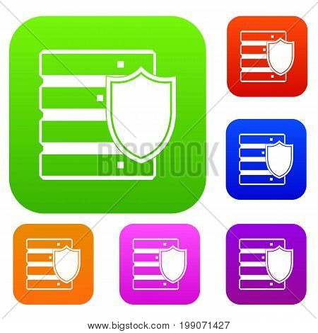 Database with shield set icon in different colors isolated vector illustration. Premium collection