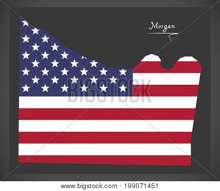 Morgan County Map Of Alabama Usa With American National Flag Illustration