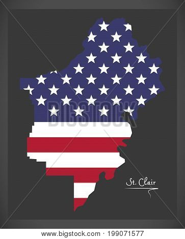 St Clair County Map Of Alabama Usa With American National Flag Illustration