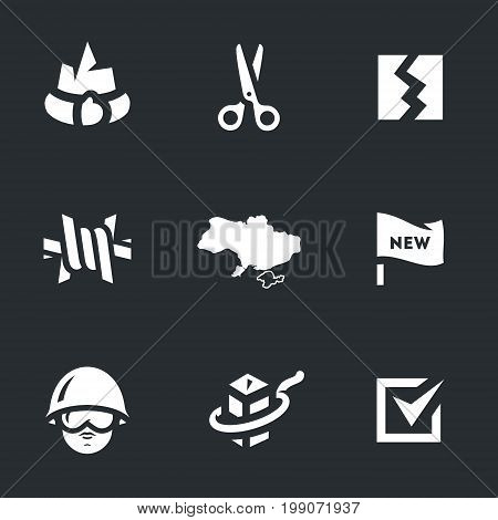 Greed, scissors, branch, barbed wire, peninsula, flag, soldier, border, choice.