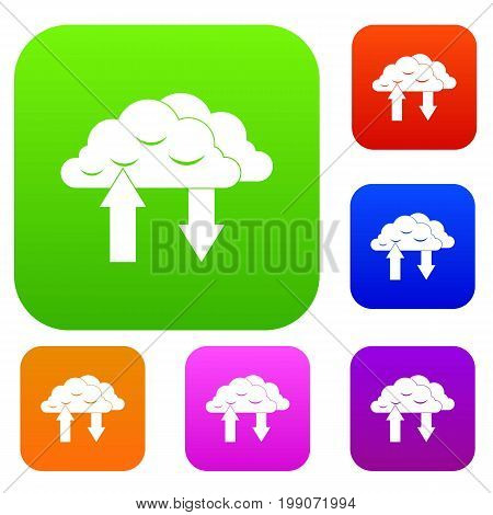 Clouds with arrows set icon in different colors isolated vector illustration. Premium collection