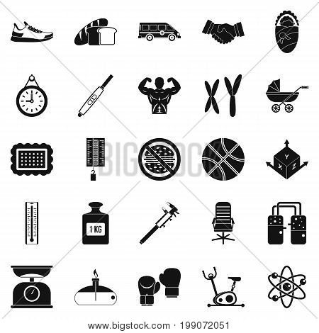 Weighing icons set. Simple set of 25 weighing vector icons for web isolated on white background