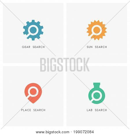 Search logo set. Gear or wheel with loupe, address pointer, sun energy and test tube with magnifier symbol - industry and engineering, science, travel agency and location map icons.