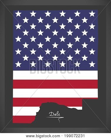 Dale County Map Of Alabama Usa With American National Flag Illustration