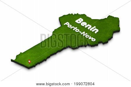 Map Of Benin. 3D Isometric Perspective Illustration.
