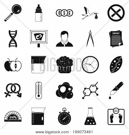 Scientific research icons set. Simple set of 25 scientific research vector icons for web isolated on white background