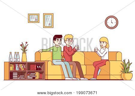 Business colleagues group taking coffee break together, talking in office lounge room sitting on sofa. Friends relaxing on lunch time drinking tea. Flat style thin line vector illustration isolated.