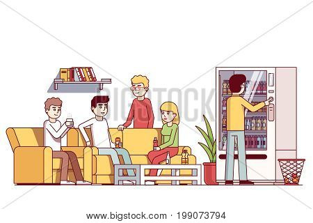 Office workers spending lunch time at corporate cafe or waiting room, drinking coffee and energy drinks from vending machine sitting on couch, socializing. Flat thin line vector isolated illustration.