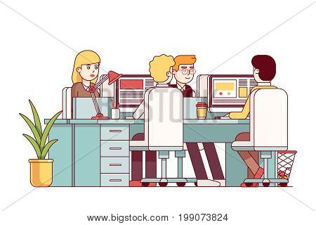 Young man and woman sitting at combined desks working on desktop pc. Open space office interior or business company room decoration with table and chairs. Flat thin line vector illustration isolated.
