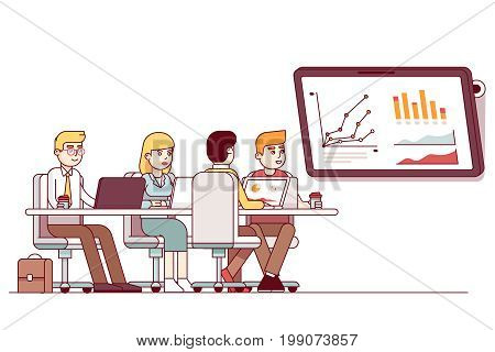 Marketing business team strategic planning meeting. Teamwork cooperation analyzing sales statistics. Conference room with presentation tv display. Flat thin line vector illustration isolated on white.