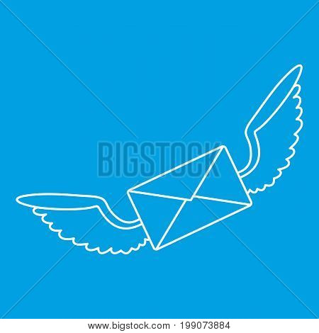 Winged mail envelope icon blue outline style isolated vector illustration. Thin line sign
