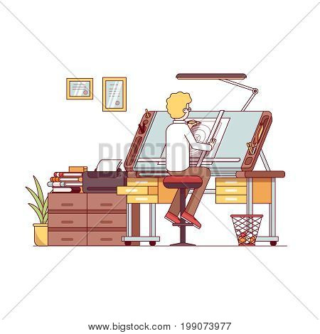 Man architect drawing or making project at designer studio with adjustable desk, chair, drawers. Workshop or engineer office room furniture. Flat style thin line vector illustration isolated on white.