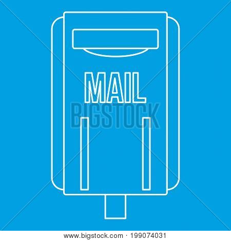 Mail box post icon blue outline style isolated vector illustration. Thin line sign