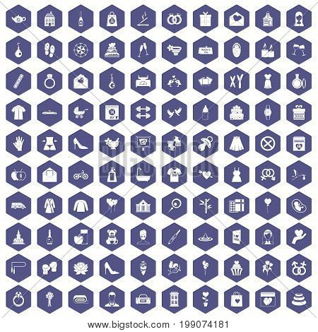 100 woman happy icons set in purple hexagon isolated vector illustration