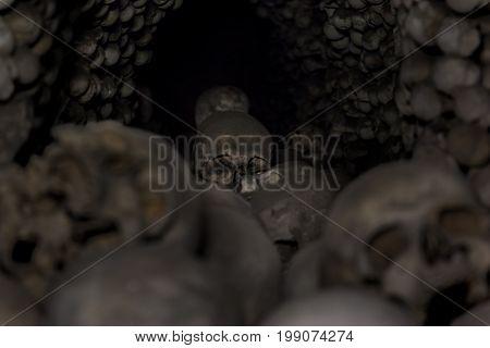 Stacked Human skulls and bones in Church of Bones in Kutna Hora Czech republic.