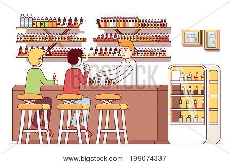 Vape store bar barman serving smokers bottles of liquid vaping juices labels from shelves. Vapers sitting at store counter smoking electronic vaporizer cigarettes. Flat thin line vector illustration.