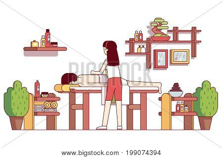 Oriental spa salon massage therapist woman massaging man lying down and relaxing on table. Cabinet with pebble stones, towels, shelves, pillow and plants. Flat thin line vector isolated illustration.