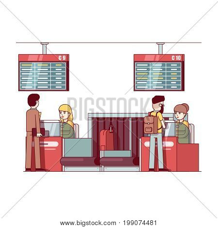 Two airline company woman working at international airport check in desk counter with weighting luggage belt, security check point metal detector, x-ray scanner. Flat thin line vector illustration.