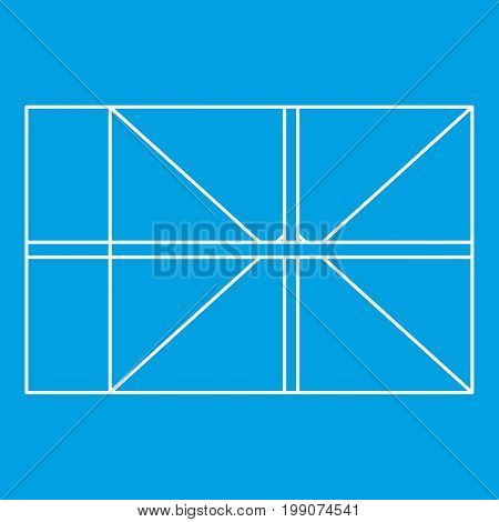 Parcel icon blue outline style isolated vector illustration. Thin line sign
