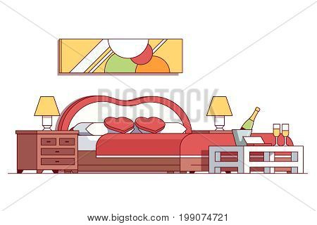 Wedding double bed bedroom hotel room suite interior. Champagne bottle in ice bucket, glasses, heart shaped pillows, red blanket waiting newlywed couple. Flat thin line vector illustration isolated.