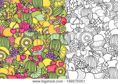 Fruits cartoon doodle outline design. Cute lineart background concept for greeting card,  advertisement, banner, flyer, brochure. Hand drawn vector illustration.