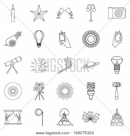 Burst icons set. Outline set of 25 burst vector icons for web isolated on white background