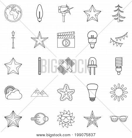 Flash icons set. Outline set of 25 flash vector icons for web isolated on white background