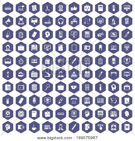 100 work space icons set in purple hexagon isolated vector illustration