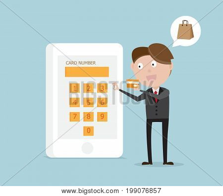 businessman enter credit card number in smartphone for paying business concept cartoon vector illustration