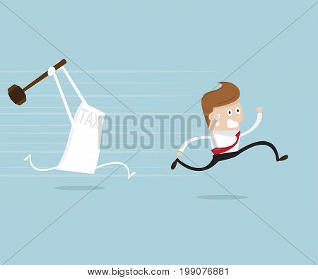 businessman running away from tax holding hammer business concept cartoon vector illustration