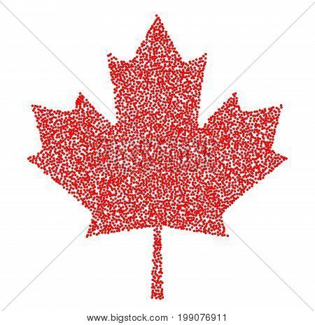 Sign canada red maple leaf stipple. Vector illustration