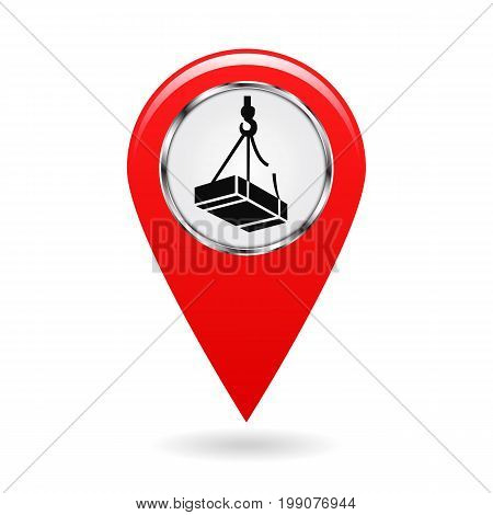 Map pointer. Safety symbol. Caution may drop shipping. Location and specify the coordinates on map terrain. Industrial Design. Red object on white background. Vector illustration.