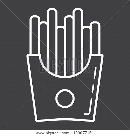 French fries line icon, food and drink, fast food sign vector graphics, a linear pattern on a black background, eps 10.
