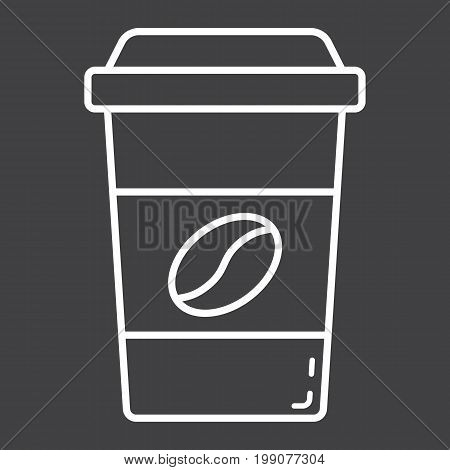 Coffee line icon, food and drink, cappuccino sign vector graphics, a linear pattern on a black background, eps 10.