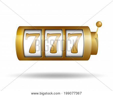 Lucky seven on slot machine. Gold Slot machine. Vector illustration EPS 10