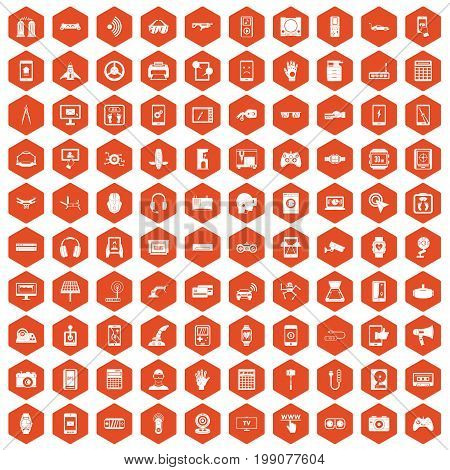 100 adjustment icons set in orange hexagon isolated vector illustration