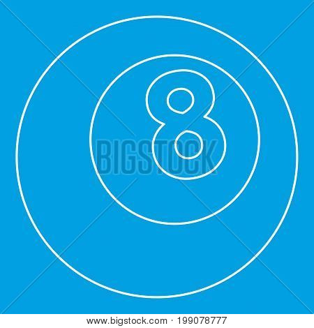 Snooker eight pool icon blue outline style isolated vector illustration. Thin line sign