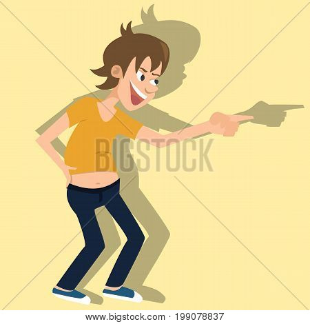 laughing person - funny vector cartoon illustration of young teen showing a finger