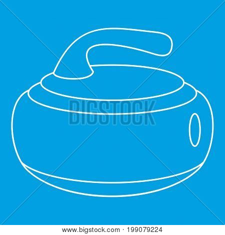 Stone for curling icon blue outline style isolated vector illustration. Thin line sign