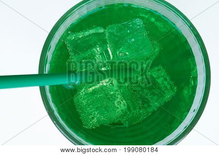 Isolated Cutout Glass Of Aerated Green Soda