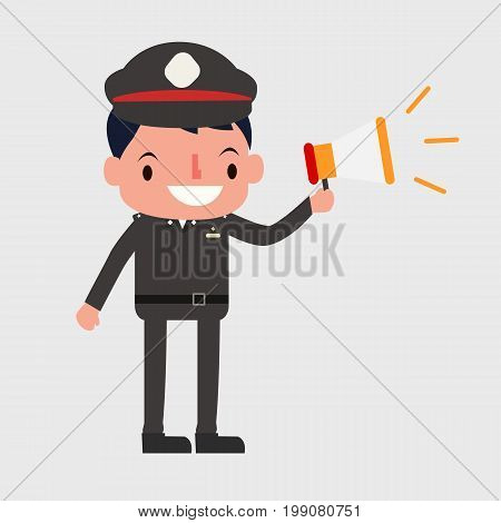 Thai police holding megaphone to announcing vector. Flat cute police character vector.Cop vector