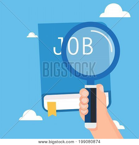 Hand holding magnification for search job with book and sky background.Vector illustration
