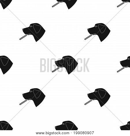 Dog with thermometer icon in black design isolated on white background. Veterinary clinic symbol stock vector illustration.