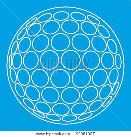 Golf ball icon blue outline style isolated vector illustration. Thin line sign