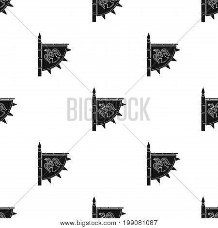 Viking's flag icon in black design isolated on white background. Vikings symbol stock vector illustration.