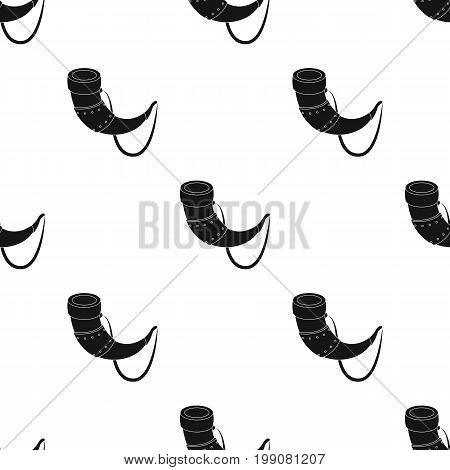 Viking horn icon in black design isolated on white background. Vikings symbol stock vector illustration.