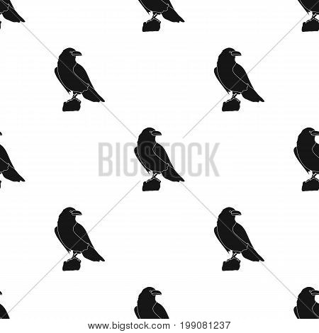 Crow of viking god icon in black design isolated on white background. Vikings symbol stock vector illustration.
