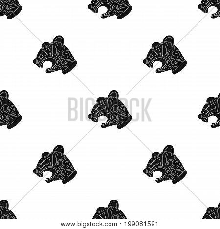 Animal head of viking's ship icon in black design isolated on white background. Vikings symbol stock vector illustration.