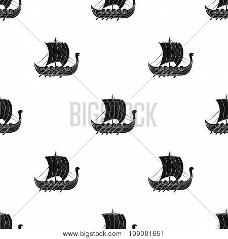 Viking's ship icon in black design isolated on white background. Vikings symbol stock vector illustration.